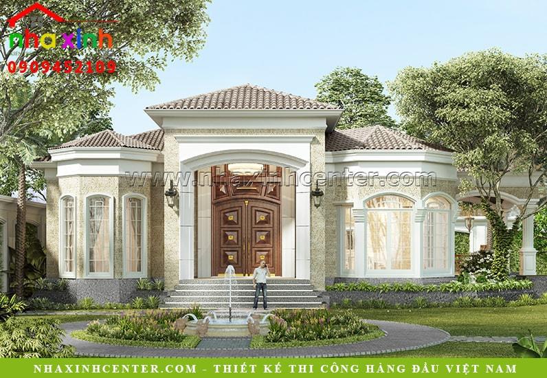 thiết kế biệt thự cổ điển mái ngói sân vườn