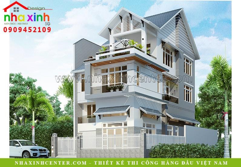 Mẫu biệt thự 3 tầng tân cổ điển mái Thái đẹp