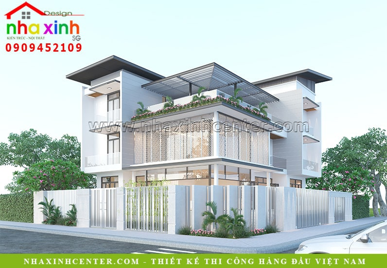 Kiến trúc biệt thự 3 tầng hiện đại với thiết kế đơn giản