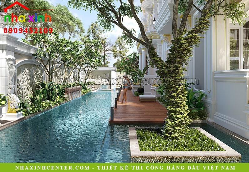 Hồ bơi rộng lớn kết hợp với tiểu cảnh sân vườn đẹp hút hồn