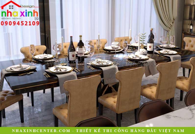 Thiết kế bàn ăn sang trọng theo phong cách quý tộc