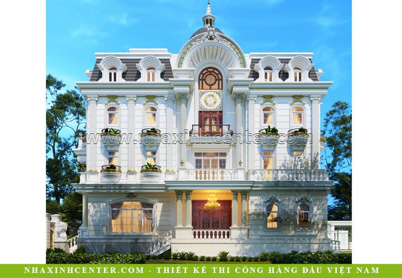Mẫu biệt thự 4 tầng cổ điển kiểu Pháp