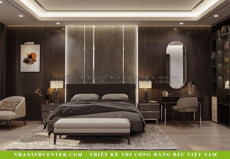 Không gian phòng ngủ ấm áp nhờ tông màu trầm tối và hiệu ứng ánh sáng