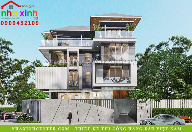 mẫu thiết kế biệt thự hiện đại 4 tầng
