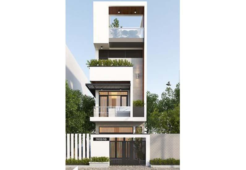 thiết kế nhà phố 1 trệt 2 lầu