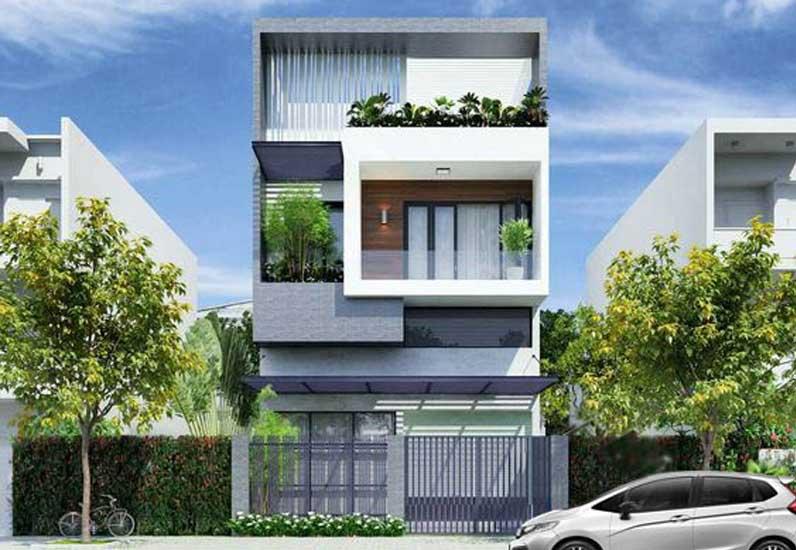thiết kế nhà phố 2 tầng 8m