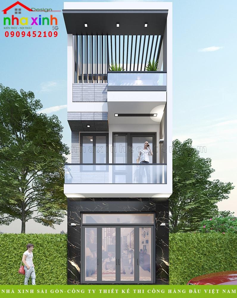 Mẫu nhà phố 1 trệt 1 lầu 1 tum hiện đại mặt tiền 4m