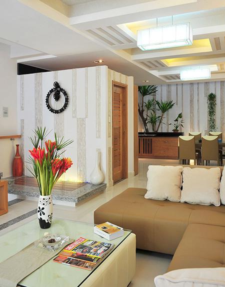 Phòng khách mẫu nhà phố đẹp 4 tầng 76m2