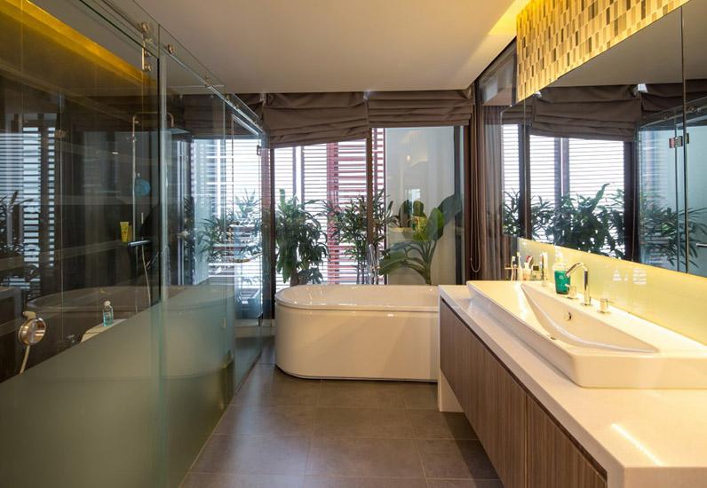 Phòng tắm mẫu nội thất đẹp cho nhà phố 7m