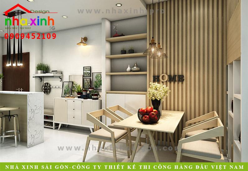 Trang trí không gian ăn bằng gỗ ấm áp