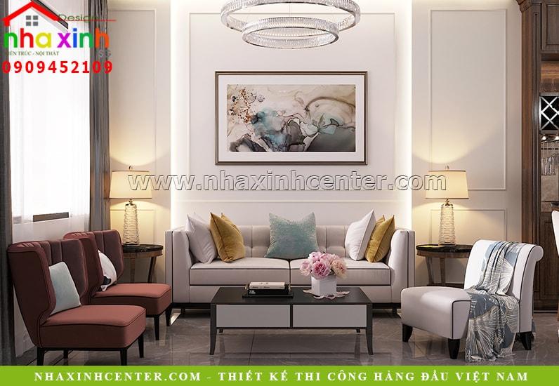 Phòng khách thiết kế theo phong cách tân cổ điển nhẹ nhàng