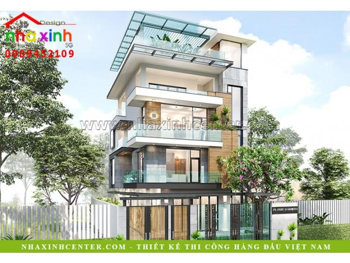 Thiết Kế Biệt Thự 5 Tầng Sân Thượng, Hà Tĩnh, 380 Triệu | BT-123