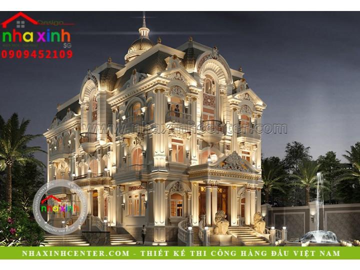 Mẫu Thiết Kế Biệt Thự Cổ Điển Sân Vườn Kiểu Âu| Ông Châu | BT-200