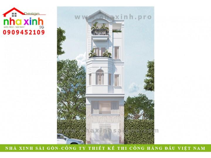 Thiết Kế Nhà Phố Mái Bằng | 4 Tầng | Chị Đoan Bình Thạnh | NP-152